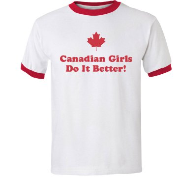 Canadian Girls Junior Fit Bella 1x1 Rib Ringer Tee