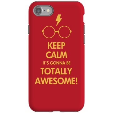 Keep Calm Totally Awesome Rubber iPhone 4 &amp; 4S Case Black