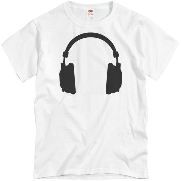 Headphones Guys Tee Unisex Basic Gildan Heavy Cotton Crew Neck Tee