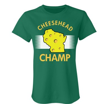 Cheesehead Champ Junior Fit Bella Crewneck Jersey Tee