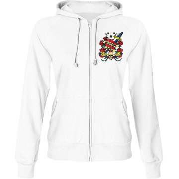 Love Always Skull Hoodie Junior Fit Bella Fleece Raglan Zip Hoodie
