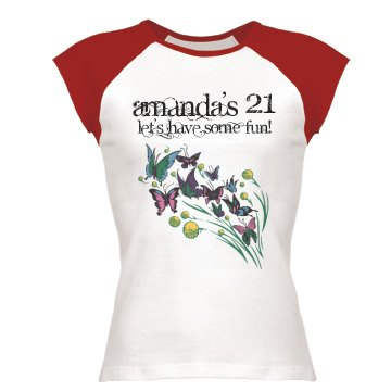 Amanda's 21 Junior Fit Bella 1x1 Rib Cap Sleeve Raglan Tee