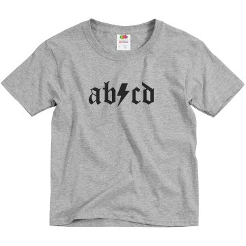 ABCD Lightning Bolt Youth Basic Gildan Ultra Cotton Crew Neck Tee
