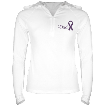 Dad Alzheimers Junior Fit Bella Long Sleeve 1/2 Zip Hooded Pullover Tee