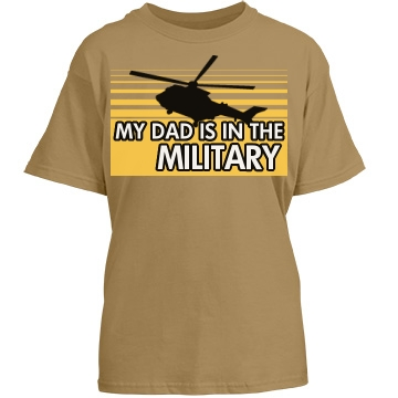 Dad Is In The Military Youth Gildan Heavy Cotton Crew Neck Tee