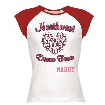 Dance Team Junior Fit Bella 1x1 Rib Cap Sleeve Raglan Tee