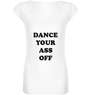 Dance Your Ass Off Junior Fit Bella Sheer Longer Length Rib V-Neck Tee