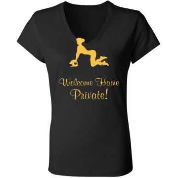Welcome Home Military Junior Fit Bella Sheer Longer Length Rib V-Neck Tee
