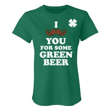 Mustache for Green Beer Junior Fit American Apparel Fine Jersey Tee