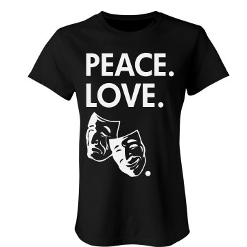 Peace Love Theater Junior Fit Bella Sheer Longer Length Rib Tee