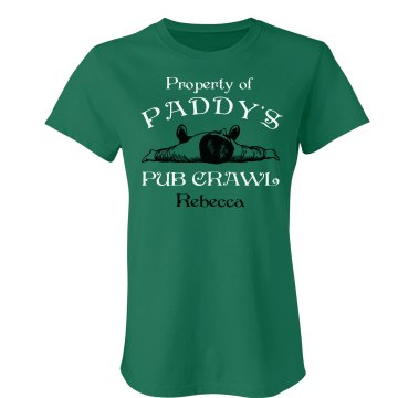 Paddy's Pub Crawl Junior Fit Bella Crewneck Jersey Tee