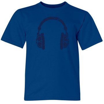 Distressed Headphones Toddler Gildan Ultra Cotton Crew Neck Tee