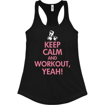 Keep Calm And Workout Junior Fit Bella Sheer Longer Length Rib Racerback Tank Top