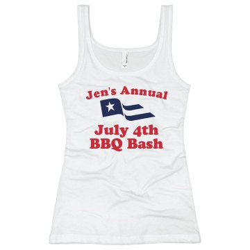 July 4th BBQ Bash Junior Fit Bella Longer Length 1x1 Rib Tank Top