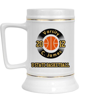 Team Stein 28oz Gold Trim Ceramic Stein