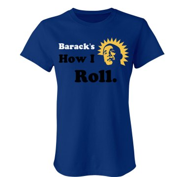 Barack's How I Roll Junior Fit Bella Crewneck Jersey Tee