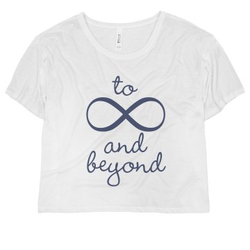 To Infinity And Beyond Misses Bella Flowy Boxy Lightweight Crop Tee
