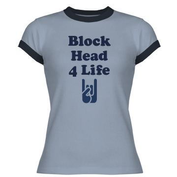 Block Head 4 Life Junior Fit Bella 1x1 Rib Ringer Tee