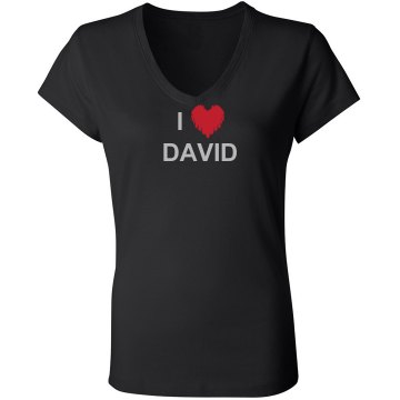 I Heart David Junior Fit Bella Sheer Longer Length Rib V-Neck Tee 