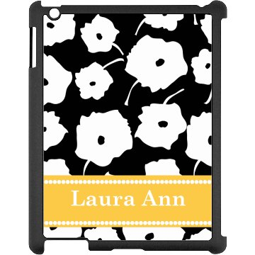 Custom Floral iPad Case Black iPad Snap-on Case