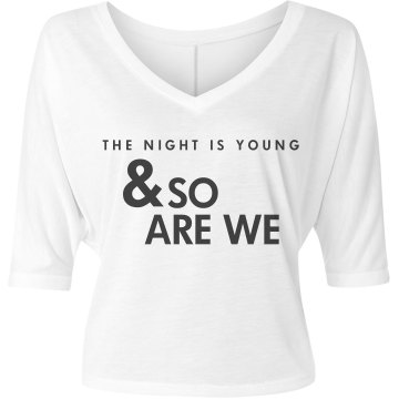 The Night Is Young Misses Bella Flowy V-Neck Half-Sleeve Tee