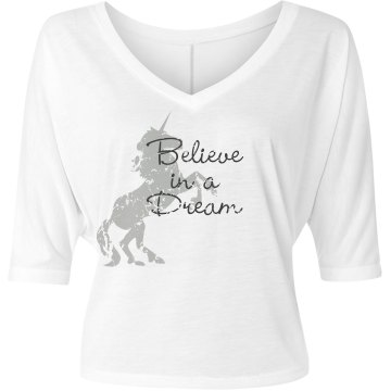 Believe Misses Bella Flowy V-Neck Half-Sleeve Tee