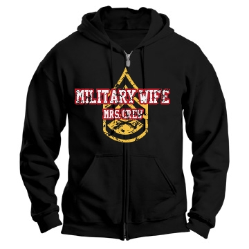 Distressed Military Wife Unisex Gildan Heavy Blend Full Zip Hoodie