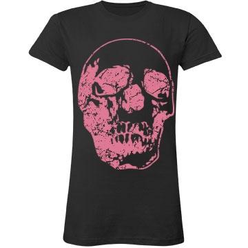 Distressed Pink Skull Junior Fit LA T Fine Jersey