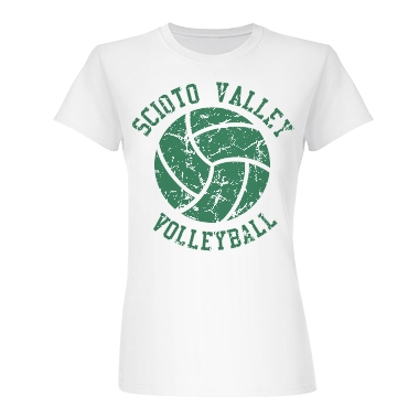 Distressed Volleyball Tee Junior Fit Basic Bella Favorite Tee
