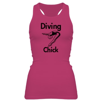 Diving Chick Junior Fit Bella Sheer Longer Length Rib Racerback Tank Top