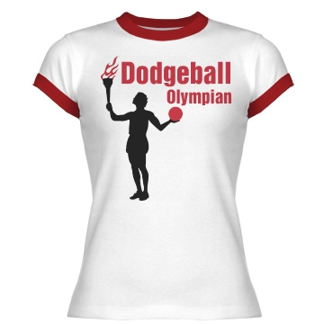 Dodgeball Olympian Junior Fit Bella 1x1 Rib Ringer Tee