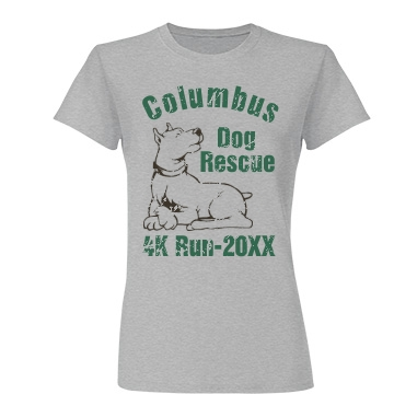 Dog Rescue Run Junior Fit Basic Tultex Fine Jersey Tee