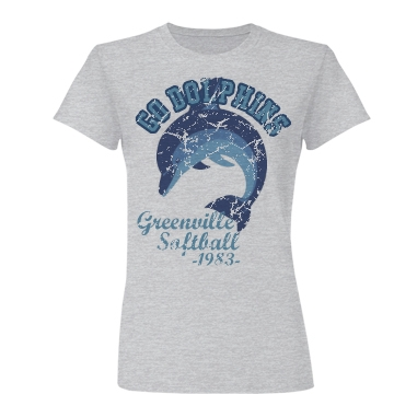 Dolphins Softball w/ Back Junior Fit Basic Bella Favorite Tee