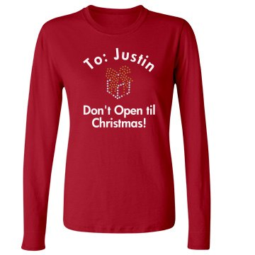Don't Open Rhinestone Junior Fit Bella Long Sleeve Crewneck Jersey Tee