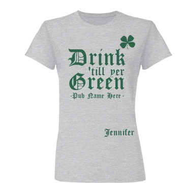 Drink Till Green St. Pat Junior Fit Basic Bella Favorite Tee
