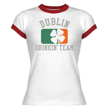 Dublin Drinking Team Junior Fit Bella 1x1 Rib Ringer Tee