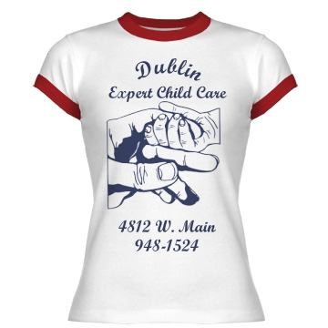 Dublin Expert Child Care Junior Fit Bella 1x1 Rib Ringer Tee