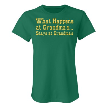 What Happens At Grandmas  Junior Fit Bella Crewneck Jersey Tee