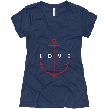 The Anchor of Love Junior Fit Bella Triblend Deep V Neck Tee