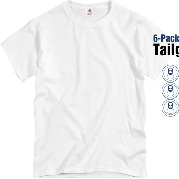 6Pack Tailgater Football Unisex Basic Gildan Heavy Cotton Crew Neck Tee