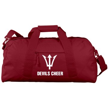 Devils Cheer Duffle Bag Port &amp; Company Large Square Duffel Bag