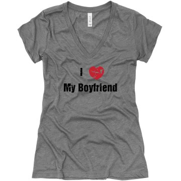 I Heart My BF Distressed Junior Fit Bella Triblend Deep V Neck Tee