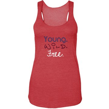 Young. Wild. Free. Junior Fit Bella Sheer Longer Length Rib Strap Tank Top