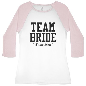 Team Bride Junior Fit Bella 1x1 Rib 3/4 Sleeve Raglan Tee