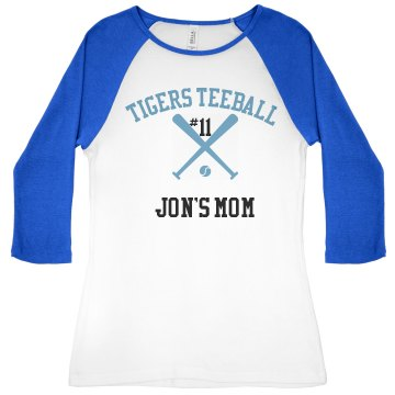 Teeball Mom Junior Fit Bella 1x1 Rib 3&#x2F;4 Sleeve Raglan Tee