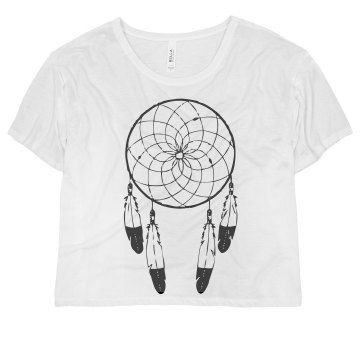 Dreamcatcher Top Misses Bella Flowy Boxy Lightweight Crop Tee