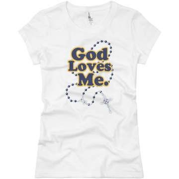 God Loves Me Beads Junior Fit Basic Bella Favorite Tee