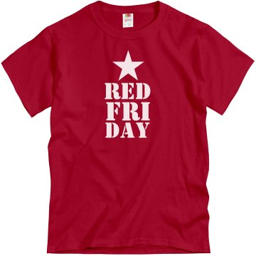 Red Friday Star Mens Unisex Gildan Heavy Cotton Crew Neck Tee