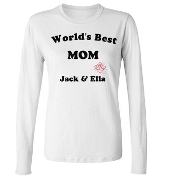 World&#x27;s Best Mom Junior Fit Bella Long Sleeve Crewneck Jersey Tee