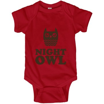 Night Owl Onesie Infant Rabbit Skins Lap Shoulder Creeper